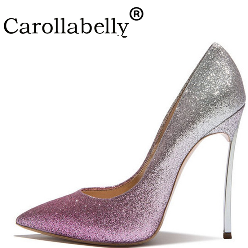 Carollabelly Sexy Glitter High Heels Women Shoes Sequined Pumps,8cm or 10cm or 12cm High Heels Pointed Toe Wedding Bridal Shoes