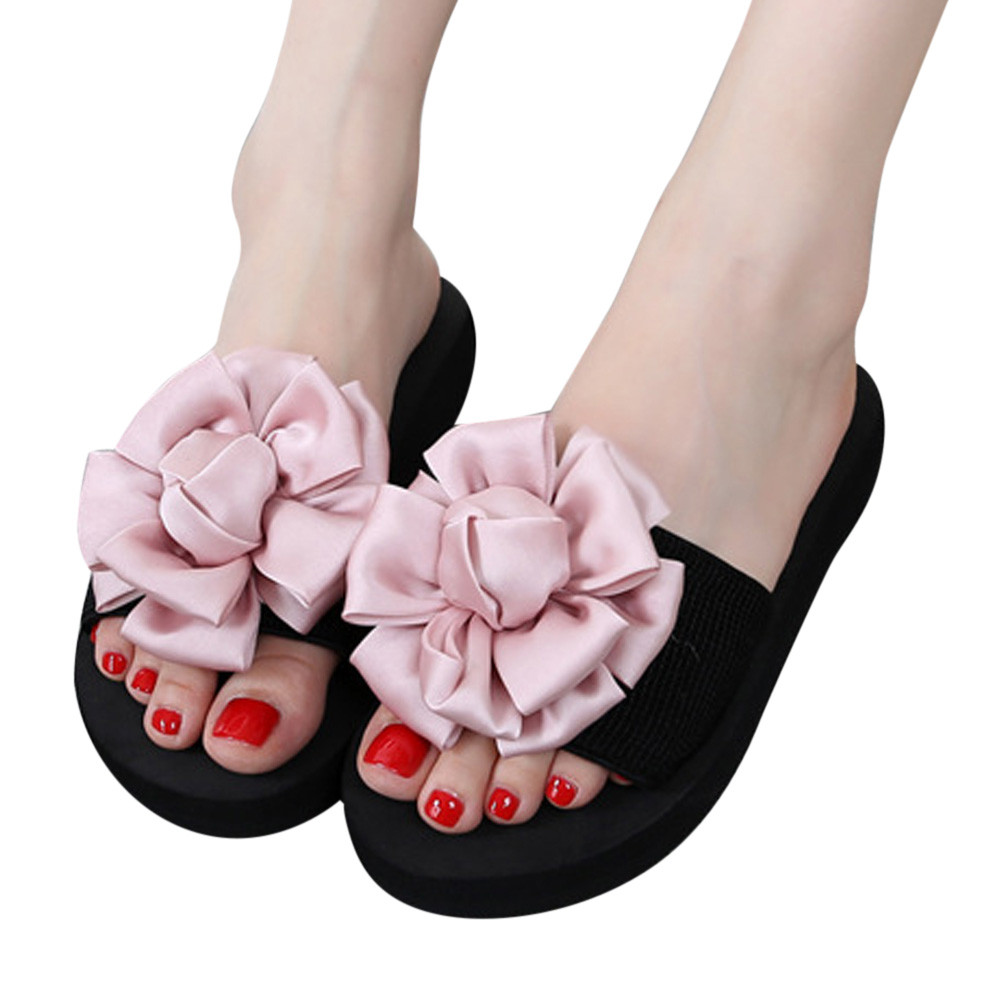 2018 Hot Women Slippers Fashion Spring Summer Women Flower Sandals Slipper Indoor Outdoor Flip-flops Beach Shoes Flat Shoes pink bow slippers women hot spring flower home cotton plush indoor floor flip flops flat shoes pantuflas pantofole donna chinelo