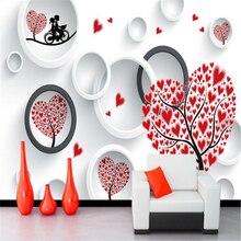 beibehang papel de parede Custom Fresco Wall Sticker Love Couple Heart Tree 3D
