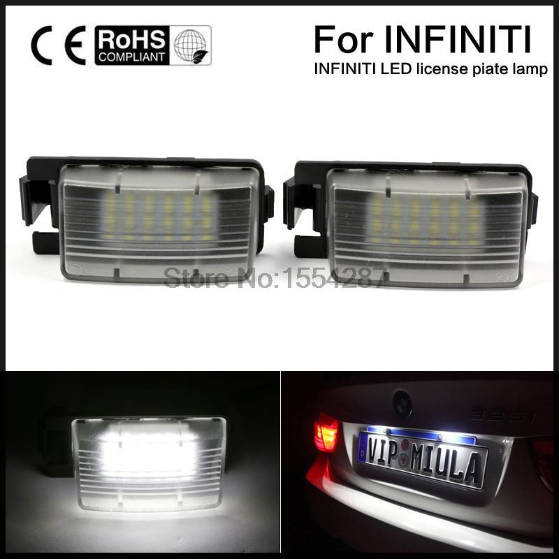 2pcs White LED License Plate Light Lamps For Nissan 350Z 370Z GTR Infiniti G37 G35