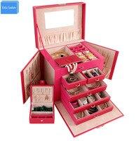 Wholesale/Retail 5 Drawer Multifunctional Black/Pink Leatehr Big Luxury Women Makeup Train Case Beauty Box Jewelry/Watch Box
