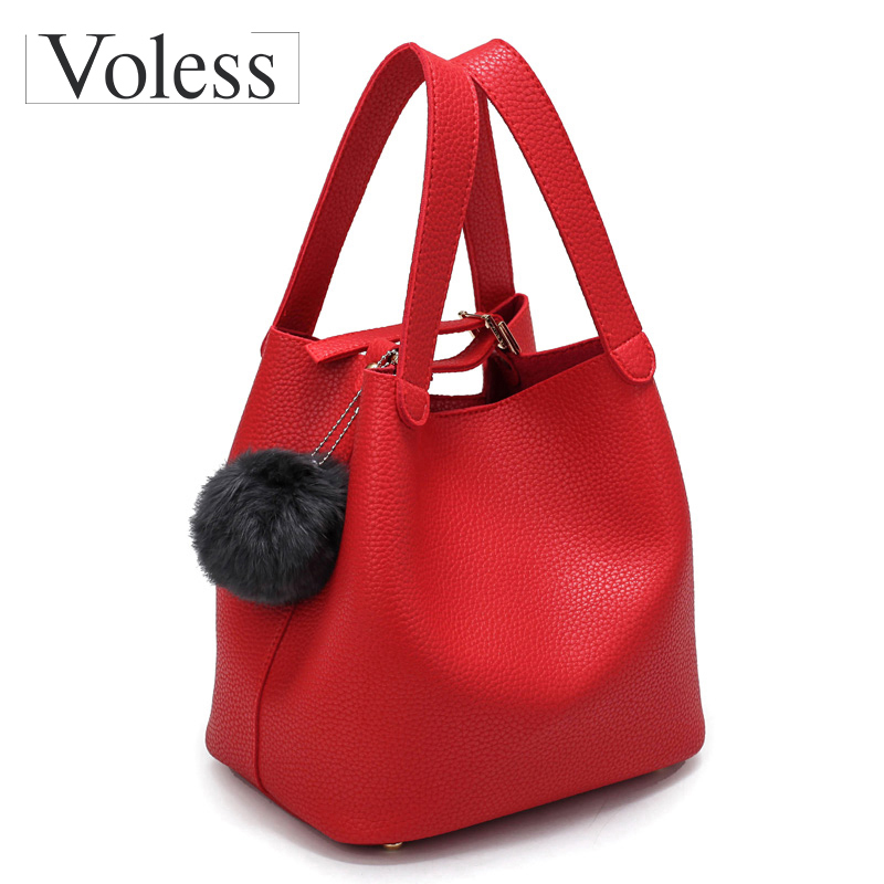 Fashion PU Bucket Bags Women Leather Handbags Hot Sale Top-Handle Women Bags Fur Ball High Quality Tote Bag Ladies Sac A Main