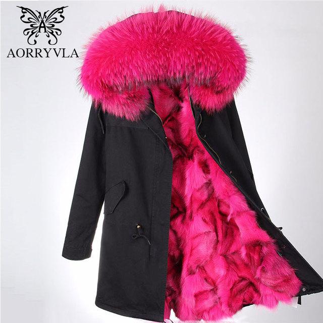 AORRYVLA Parka Real Fur Women Winter 2017 Large Raccoon Fur Collar Hooded Long Coat Luxury Fox Fur Liner Warm Jacket Top Quality