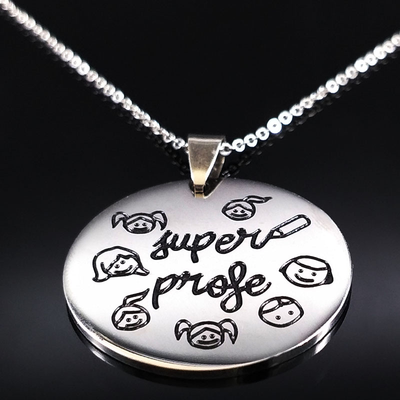 Teacher Day Gifts Stainless Steel Necklaces Choker Jewelry Women Kids Child Student Souv ...