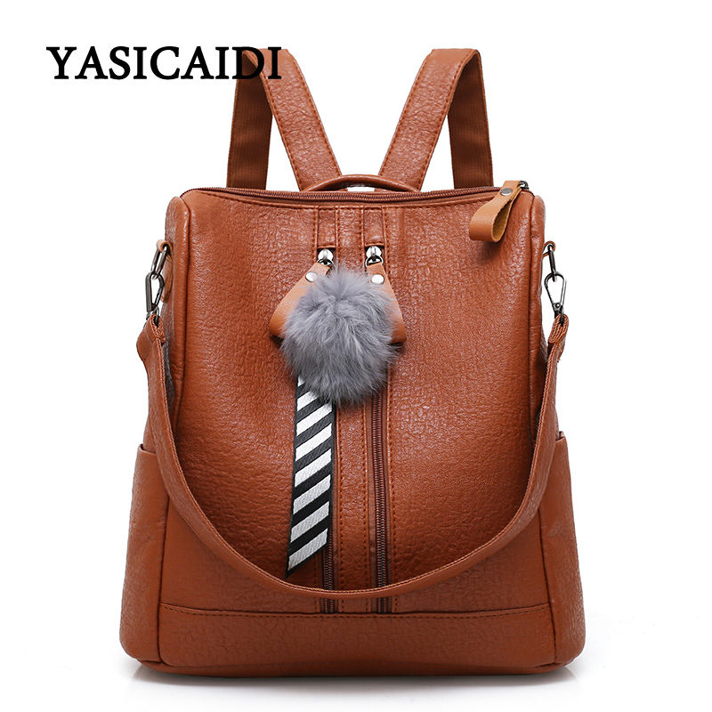 Fashion Backpack Women Pu Leather School Bags For Teenage Girls Travel Female Backpack With Fur Ball Soft Laptop Backpack