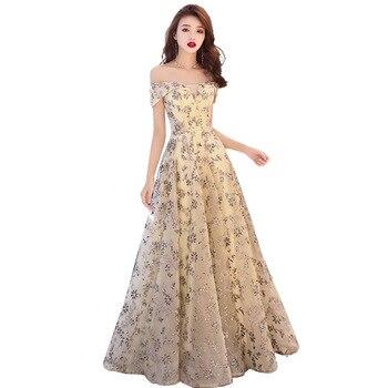 2019 Sequin Appliques V-neck Evening Dress prom gowns vestido de festa Elegant Luxury Sequin knitting Formal Party dress