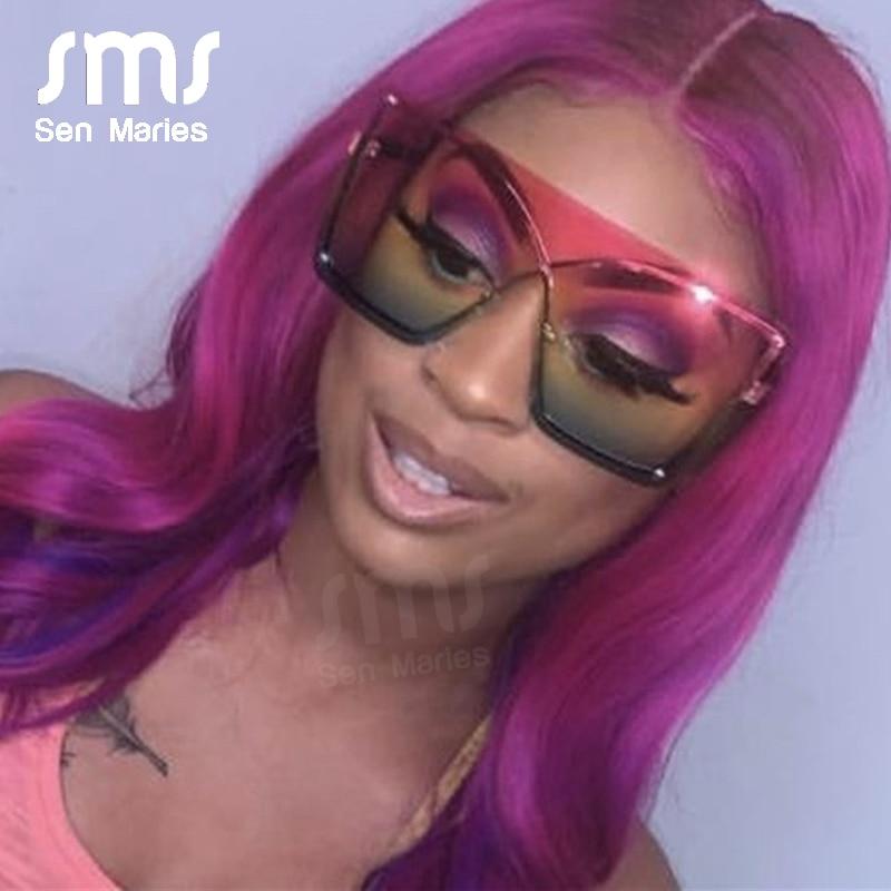 Oversized Red Yellow Gradient Cat Eye Sunglasses Women 2019 Luxury Brand Fashion Rimless Square Metal Female Men Sun Glasses