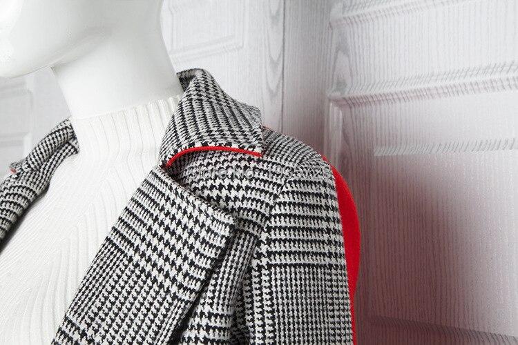 Deux Patchwork Rouge Noir Long Contraste Couleur Manteau un Élégant Avec Laine Lady Survêtement Multi automne Vérifié 2018 en Retour hiver Ceinture Peignée qgXHw4