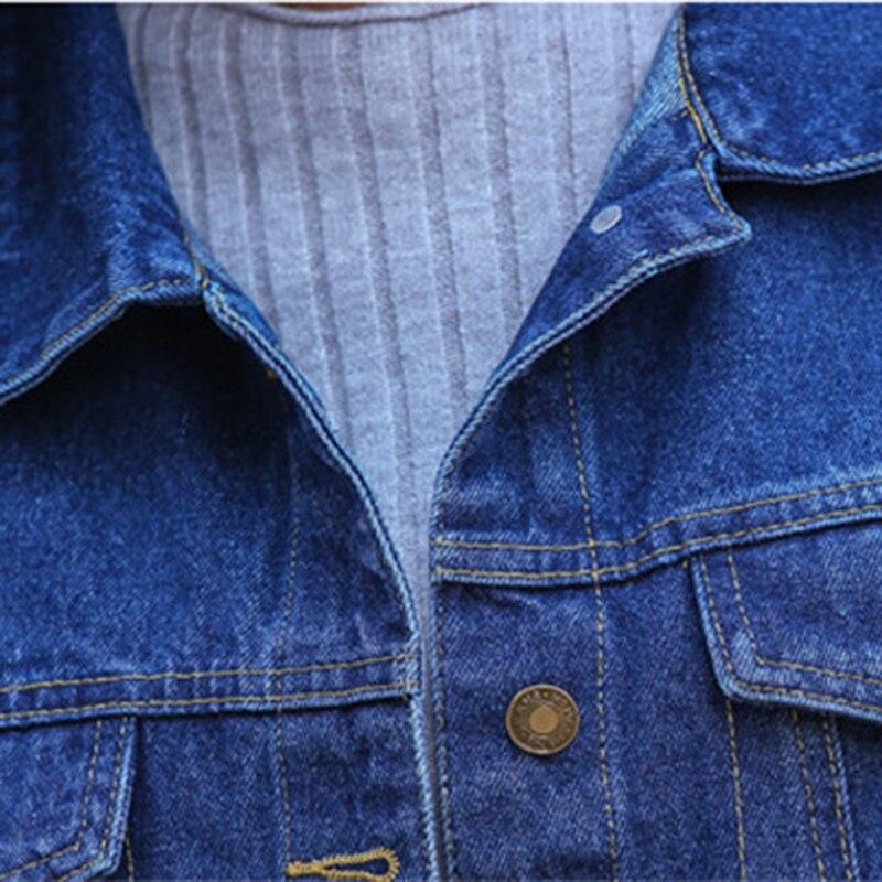 Image 3 - Las nuevas mujeres Denim chaqueta de primavera y otoño de manga  larga suelta básico rebelde abrigo de las mujeres Harajuku azul marino  chaqueta Jean corta abrigos A449chaquetas básicas