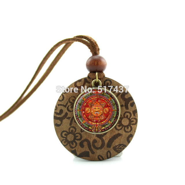 Hzshinling new design wooden pendant necklace aztec calendar hzshinling new design wooden pendant necklace aztec calendar necklace sun stone pendant round glass necklace women aloadofball Image collections