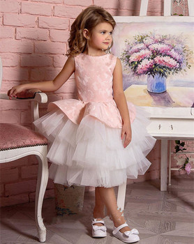 Cute Pink Top Puffy Tulle Little Girls Birthday Dresses Lace Layered Tulle O Neck Kids Pageant Party Gown Size 2 4 6 8 10 14 16Y