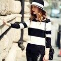 Quintina 2017 nueva moda rayado mujeres suéteres suéter hecho punto otoño súper elástico libre del tamaño de las mujeres suéter