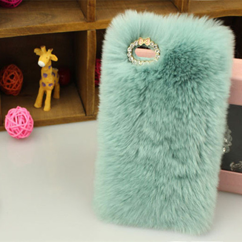 promo code 2c2c9 6d23e Fuzzy Cover For iphone 7 7 plus Phone Cases Winter Warm Fluffy hair Soft  Skin Rhinestone Plush Hairs Back Cover Caja