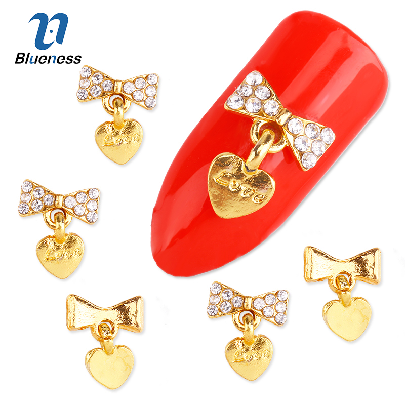 Nail Art 10Pcs/Pack 3D Decorations New 2017 Gold Bow With Love Heart Pendant DIY Glitter Rhinestones For Alloy Nails Tools Nice 50 pcs set 3d nail art decorations glitters diy nail tools full rhinestones silver crown crystal nails studs1