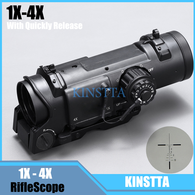 Hot Sale Tactical Rifle Scope Quick Detachable 1X-4X Adjustable Dual Role Sight For Hunting