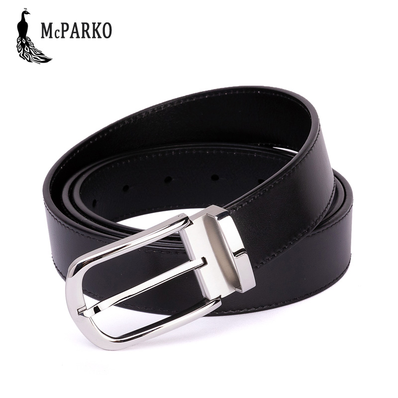 McPARKO Genuine leather belt men Stainless Steel pin buckle Men casual high quality belt Fashion mens