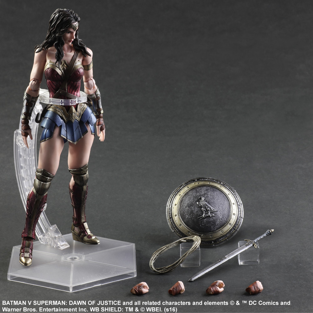 Play Arts Kai Wonder Woman Action Figures Dawn of Justice PVC Toys 250mm Anime Movie Model Superman VS Bat Man Playarts Kai GC64 tobyfancy play arts kai action figures batman dawn of justice pvc toys 270mm anime movie model pa kai heavily armored bat man