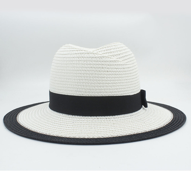 3c10efa6d4ef Classic Summer Women Men Toquilla Straw Fedora Hat Elegant QueenBig Wide  Brim Panama Hat With Bowknot 45