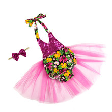 retail girl Tutu Dresses cute Baby Girls Casual Children Clothing sequin romper tutu set with hairband STUS15
