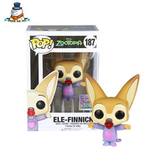 [QuanPaPa] Genuine Original FunKo POP Zootopia ElE-FINNICK 187 Model Action Figure doll car Decoration kids toys