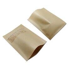 50 шт./партия, розничная, Открытый Топ, крафт-бумажный пакет, вечерние конфеты, сушеные еда Кофе вакуумный мешок Упаковка Сумки для хранения с матовым окном
