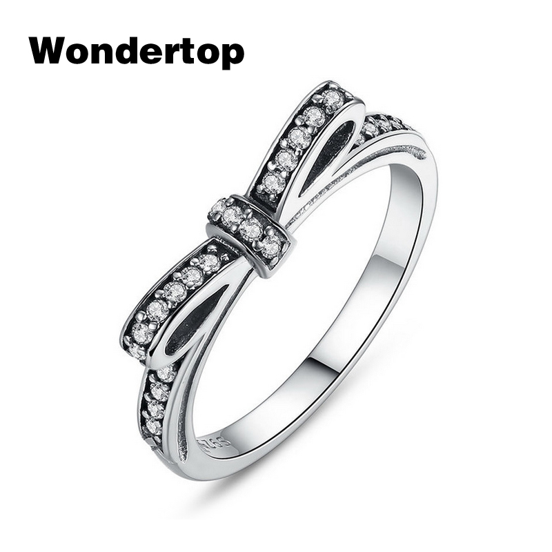 Wondertop Original 925 Sterling Silver Bow Knot Ring Paved With Micro CZ For Women Wedding/Engagement Fashion Jewelry Size 6-8
