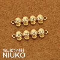 Monopolio de metal de oro de alta calidad cráneo zapatos de cuero capa de la ropa de BRICOLAJE bolsas cinturón traje pulsera DIY ornamento accesorios 12 pcsx