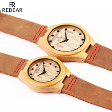 Fashion REDEAR relogio Luxury Women's Casual watches Sport watch women fashion Dress Genuine Leather Strap Wood Couple Watch