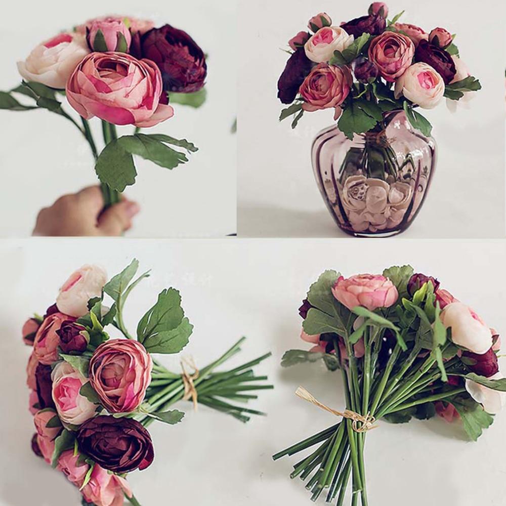 10 יח '/ סט הגבוהה ביותר מלאכותית תה מזויף רוז משי פרחים עלה אמיתי מגע חתונה הבית קישוט המפלגה