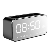 Portable Time Alarm Clock Bluetooth Speaker with FM Radio MP3 Player Mirror LED Stereo Speakers Hot Sale