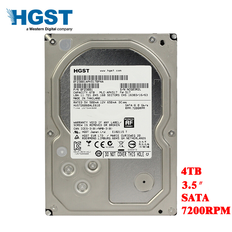 HGST Brand 4TB Desktop PC 3.5 Internal Mechanical Hard disk SATA3 6Gb/s HDD 4T 7200 RPM 128 MB Buffer free shipping