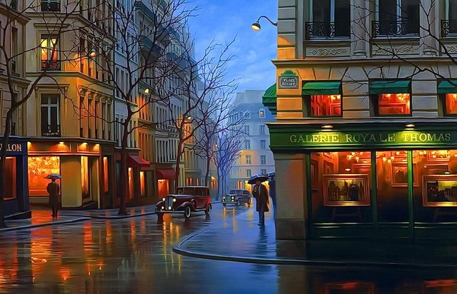 Modern handmade painting night street in the rain 1 on oil painting canvas for living room decor ...