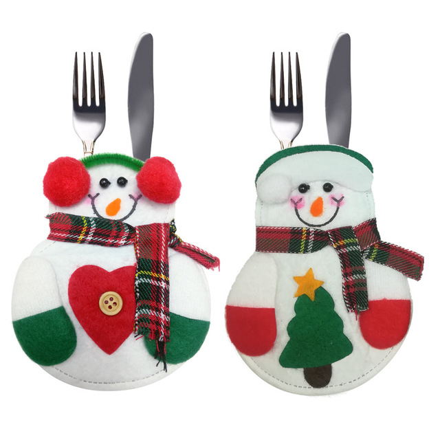 balleenshiny christmas xmas silverware holders decorations pockets dinner decor fork cutlery set skirt pants household gifts - Christmas Silverware Holders