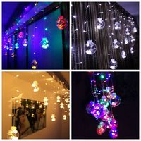 Family 120 LED New Year Christmas Lights Indoor Curtain Fairy String Light Wedding Decoration Window Garland