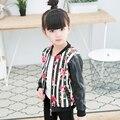 Retail Otoño de los Bebés Ropa Floral Completo de Cuero de LA PU Del O-cuello de La Manera Chaqueta Niños Outwear y Abrigos Marca Infantil Chaqueta de Rayas