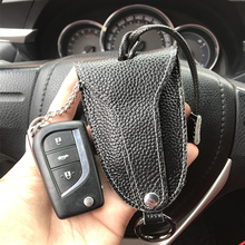 Genuine Cow Leather Men & Women Car Key Bag with Black Color Auto Protector Holder for BMW Case VW Wallet