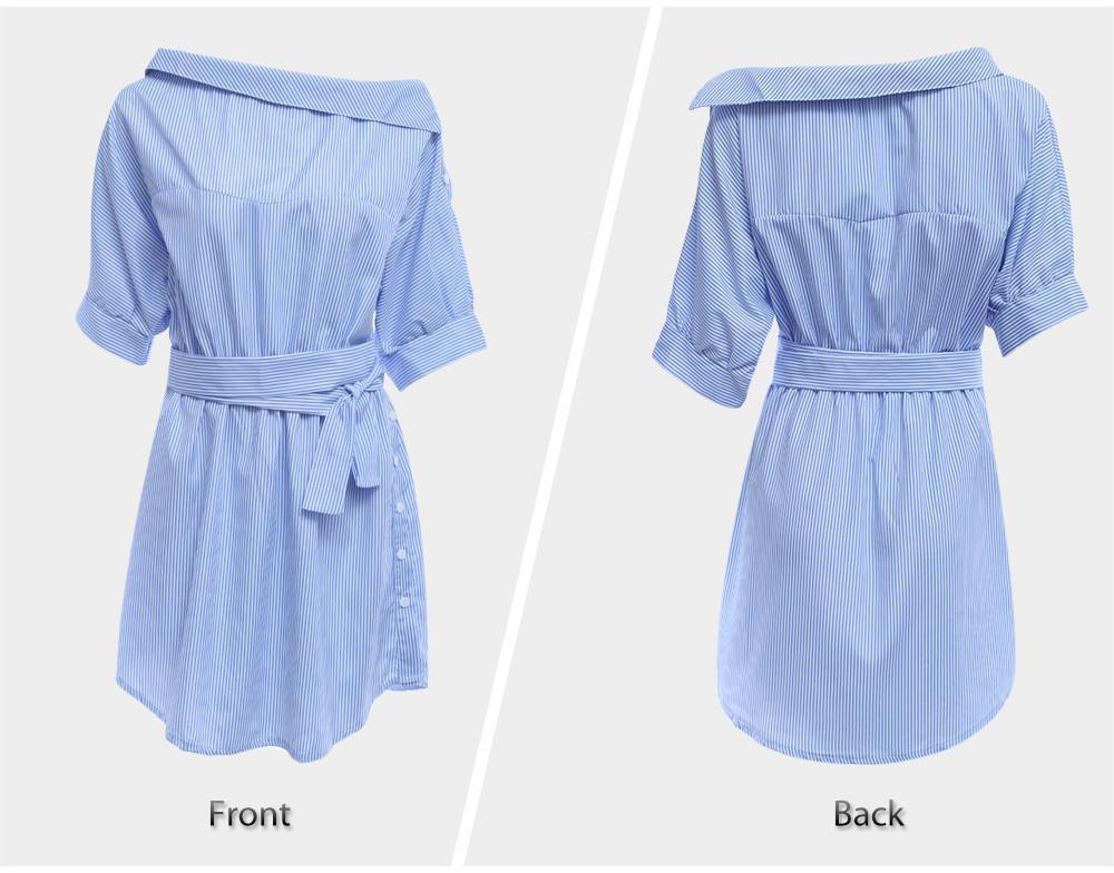 VESTLINDA Shirt Dress Women Summer Vestidos De Festa One Shoulder Half Sleeve Stripper Dress Sashes Mini Short Casual Dress 9