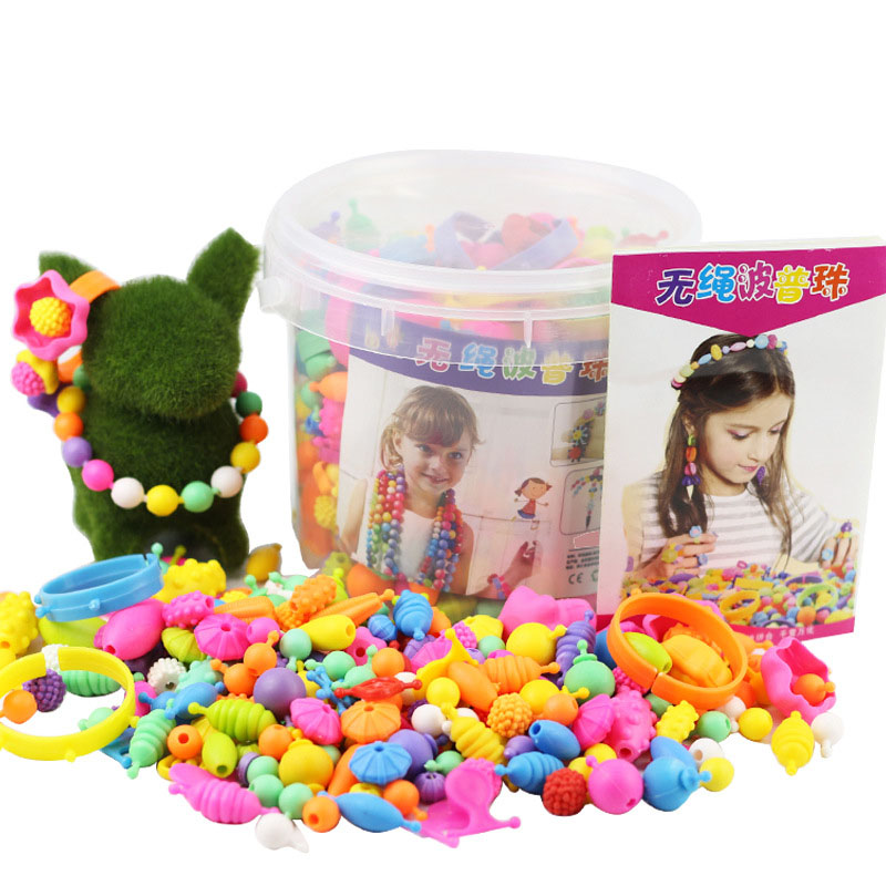 550Pcs/set Colorful Plastic Pop Snap Beads Toys Kit Creativel Arts And Crafts For Girls Kids  DIY Wear Bead Jewelry Bracelet Toy