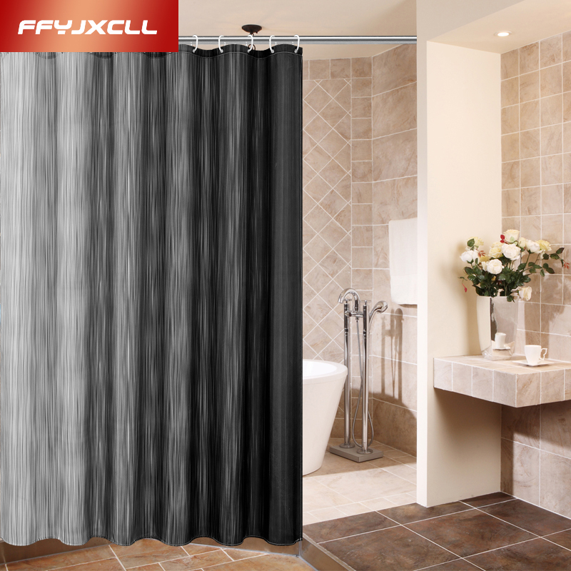 Elegant 180x180cm Solid Color Modern Black White Stitching Shower Curtain Polyester  Waterproof Mildew Bathroom Curtains Home Decoration  In Shower Curtains  From ...
