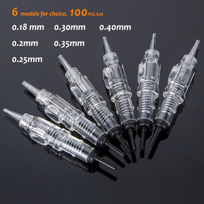 100pcs Easy Click 600D-G Tattoo Needle 1RL Disposable Sterilized Permanent Makeup Cartridge Needles Tips For Eyebrow Lip