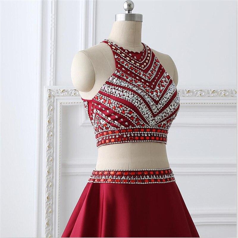 Rouge Tank 2019 nouveau élégant formel sexy mode cristal design deux pièces longue fête robe de soirée taille personnalisée 6-26 - 6