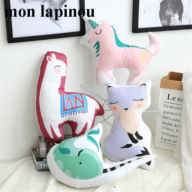 Cute Unicorn Pillow Cartoon Stuffed Animal Soft Cushion Alpaca ,Narwhal,Fox Baby Kids Cotton Throw Pillow Home Decor