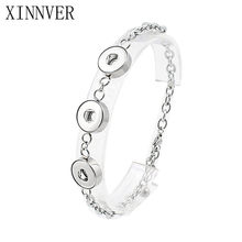 Wholesale New Trendy Stainless Steel Xinnver Snap Bangles& Bracelets Beauty Fit Three 12mm snap buttons For women men ZE280(China)