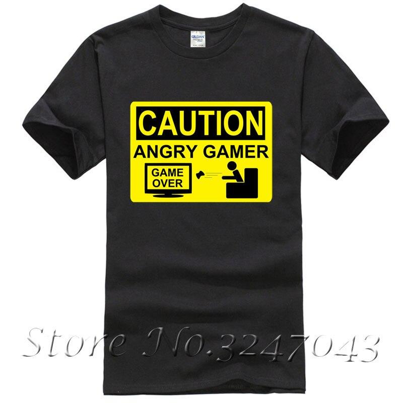 Внимание Angry Birds Gamer-Предупреждение знак Game over Lost Мужская футболка с круглым вырезом Модные Повседневное высокое качество печати Футболка