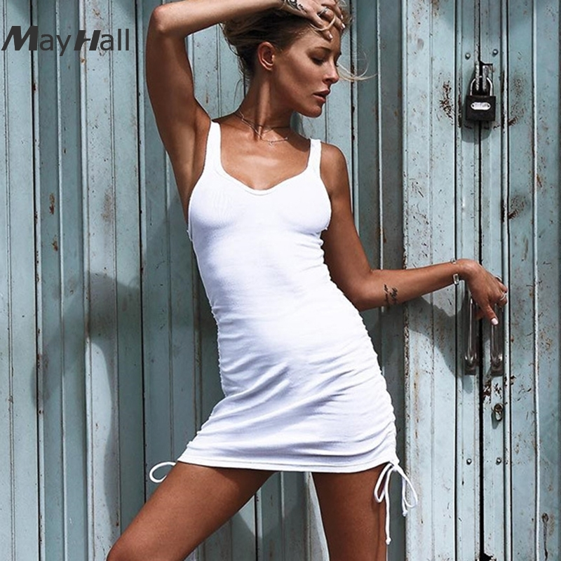 MayHall Drawstring Women White Strap Dress Party Skinny Vestido For Female Sexy Backless Lace up Beach Dresses Robe Femme MH259 in Dresses from Women 39 s Clothing