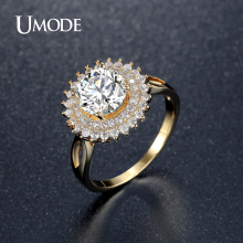 UMODE 2016 New Arrival Brand Rings For Women Size 6 7 8 Cubic Zircon Gold Plated Anillos Engagement Ring Jewellery AUR0362A