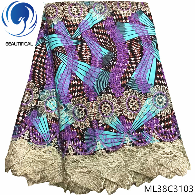 BEAUTIFICAL ankara print contton wax with lace african guipure fabric nigerian wax lace ML38C31