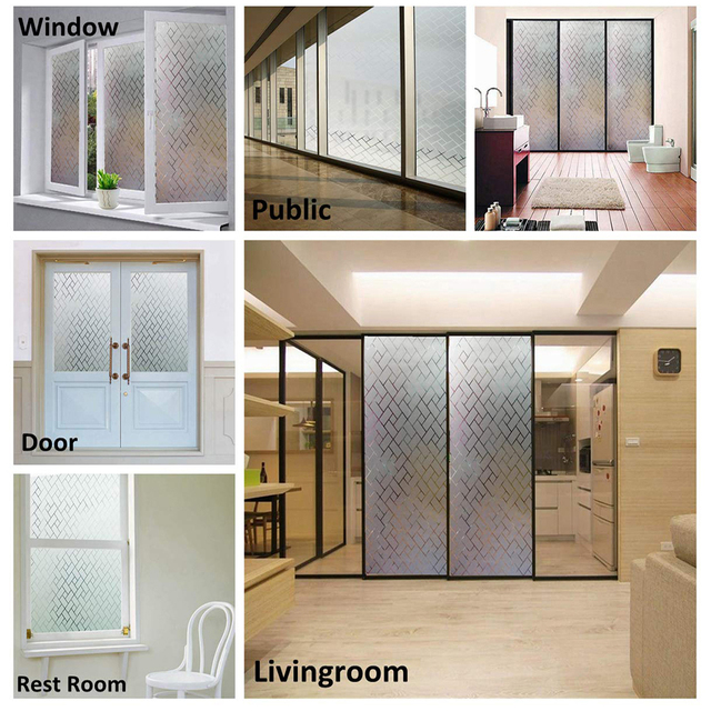 LUCKYYJ Window Covering Film Frosted Static Privacy Decoration Self Adhesive for UV Blocking Heat Control Glass Window Stickers