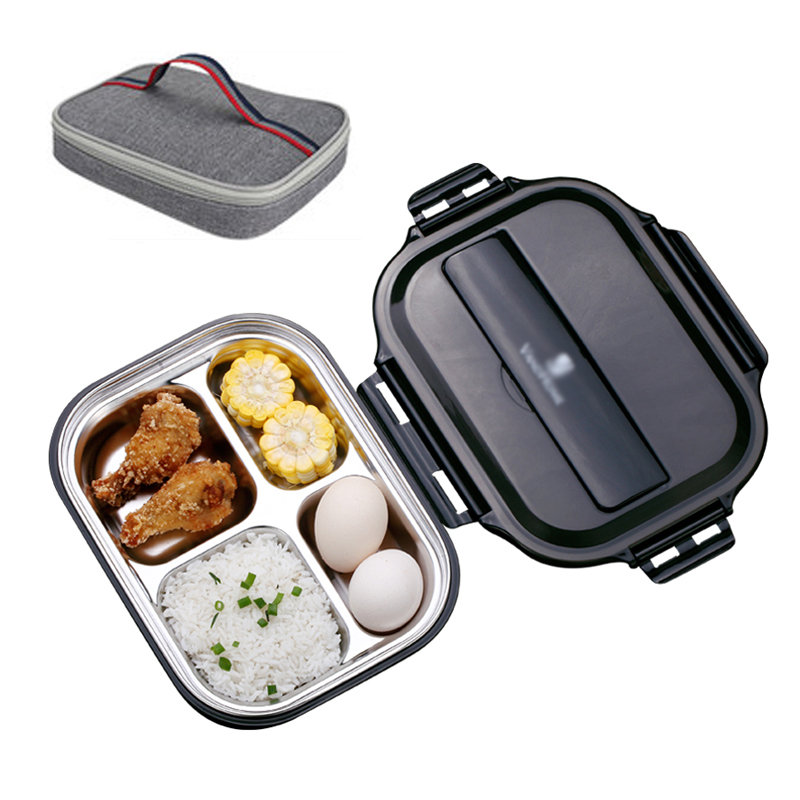 Black Food Container Stainless Steel Lunch Box Kids School