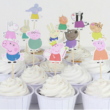 Peppa Pig toppers Picks 24pcs/lot PAW Patrol Cupcake Inserts Card Baby Shower Kids Children Birthday Party Supplies
